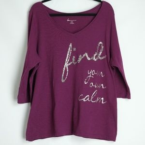 "Lane Bryant ""Find Your Own Calm"" Fuchsia Tee 18/20"